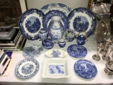 A quantity of blue and white china including a Shredded Wheat dish