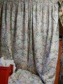 A pair of curtains with tie back, 250w x 135d.