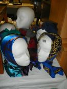 3 vintage head scarves etc (heads not included.