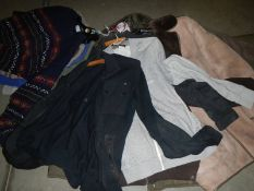 A quantity of men's casual ware including jacket's, Jumpers, sheepskin jacket,