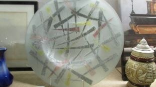 A large studio glass dish. ****Condition report**** Maximum outer diameter 440mm.