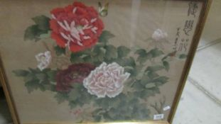 A framed and glazed Chinese floral study, signed.