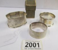 2 silver napkin rings (52 grams) and an EPNS napkin ring.