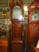 A Victorian oak 30 hour long case clock with painted dial, W Farnhill, Rotherham.