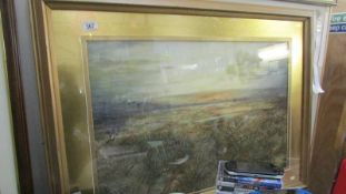 A large signed framed and glazed rural scene.