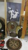 A mixed lot of ethnic style metal plates etc.