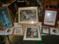 8 good framed pictures including children etc.