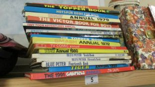 17 children's annuals including Blue Peter, Topper, Victor etc.