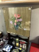1930's oak metamorphic tea table/firescreen with painted still life of flowers under glass Height