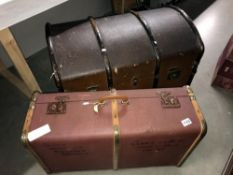 A vintage travelling trunk and large suitcase a/f