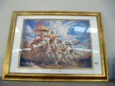 A gilt framed chariot racing print titled Parth-Sarathi (Krishna)
