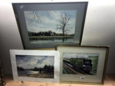 3 watercolours Bournemouth Bell (framed and glazed) Windsor castle from datchett (framed and