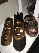 3 wooden wall hanging tribal face masks