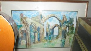 A framed and glazed study of abbey ruins.