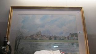 A framed and glazed village scene signed Michael Gaymulik.