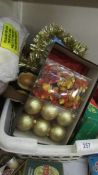 A quantity of Christmas decorations.