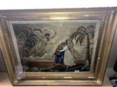 A large gilt framed tapestry of Angels size; 80.5cm x 66cm approx.