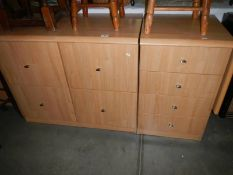 2 modern office desk filing cabinets and a matching 4 drawer chest with a drop side/work surface