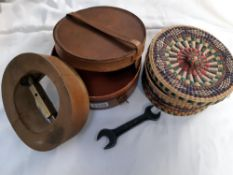 A 6 and three quarter vintage hat stretcher leather collar box etc.