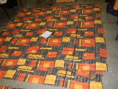 A bedspread 203 x 104 cm, a 50cm valance, A pair of curtains 300 cm wide x 360 cm drop with pelmet,