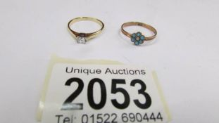 A Princess cut diamond single stone ring in 18ct gold together with an antique sentimental forget
