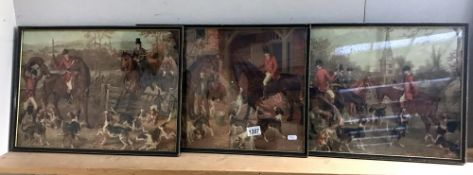 3 framed and glazed hunting prints sizes; 50cm x 37cm approx.