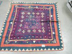 An antique had stitched cloth, 87 x 84 cm.