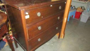 A mahogany 3 drawer chest.