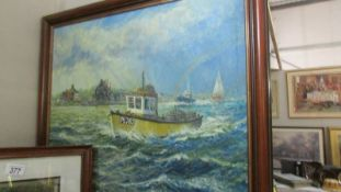 A framed oil on canvas seascape signed Andrew Kenroy.
