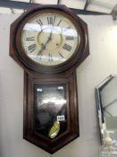 An Ansonia American drop dial wall clock