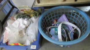 A box of needlework items and a quantity of belts.
