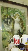 A framed and glazed print of a young girl with a St. Bernard dog and cats.