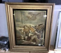 A large gilt framed tapestry of a human sacrifice A/F size 86cm x 74cm approx.