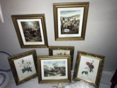 3 historical war prints and 3 floral prints approx sizes 28.5cm x 23.