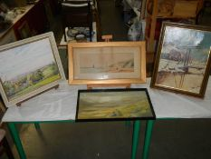 4 good oil and watercolour paintings.