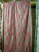 A pair of lined curtains, 155 w x 200 d.