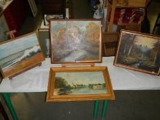 3 good oil paintings and watercolours.