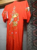 An embroidered Japanese kimono in good condition.