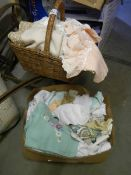 A box and a basket of linen.