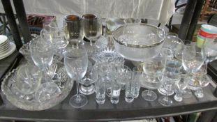 A shelf of glass ware.