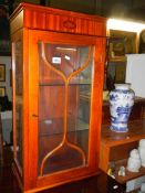 Shell inlaid darkwood astragal glazed table top display cabinet