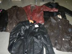 6 men's jackets, leather and faux leather, various styles and sizes.
