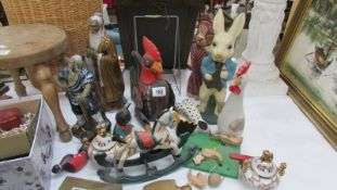 A mixed lot including animal figures, Chinese figures etc.