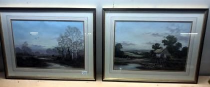 A pair of framed and glazed country scene watercolours by W.Reeves size 70cm x 54cm approx.