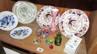 2 Mason's plates, 3 Spode plates, glass sweets etc.