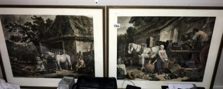 A pair of framed and glazed old farming scene prints Sizes; 53.5cm x 63.