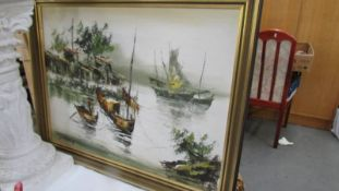 A framed nautical scene signed L Kink?.