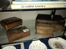 Inlaid wooden cigarette box and 3 others