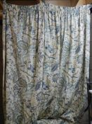 2 pairs of lined curtains, 225 w x 198 d.
