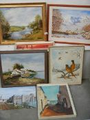 Seven framed oil and watercolour paintings (one glazed).